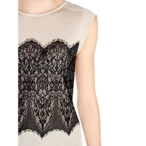 Buy Warehouse Lace Panel T-Shirt Online at johnlewis.com