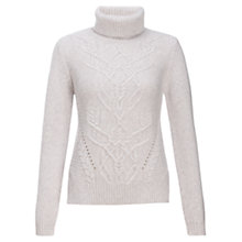 Buy Jigsaw Cable Sweater, Light Grey Online at johnlewis.com