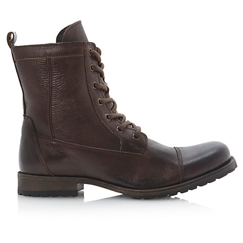 Buy Dune Crunch Time Leather Toe-Cap Boots, Dark Brown Online at johnlewis.com