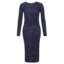 Buy Jigsaw Inky Print Midi Dress, Dark Blue Online at johnlewis.com