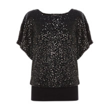 Buy Coast Alonsa Sequin Top, Black Online at johnlewis.com