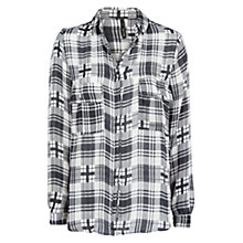 Buy Mango Check Flowy Shirt, Black Online at johnlewis.com