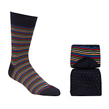 Buy John Lewis Fine Stripe and Spot Socks, Pack of 2, Navy/Multi Online at johnlewis.com