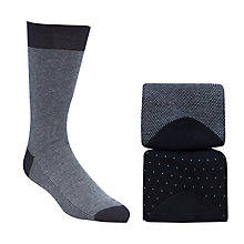 Buy John Lewis Mini Birdseye Egyptian Cotton Socks, Pack Of 2, Navy Online at johnlewis.com