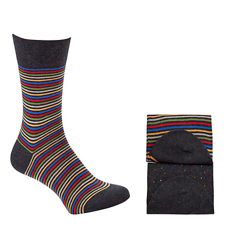 Buy John Lewis Stripe Egyptian Cotton Socks, Pack of 2, Blue/Multi Online at johnlewis.com