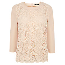 Buy Oasis Lace Crepe Top, Stone Online at johnlewis.com