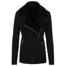 Buy Reiss Annecy Shearling Leather Coat, Black Online at johnlewis.com