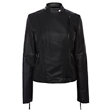 Buy Oasis Borg Lined Faux-Leather Jacket, Black Online at johnlewis.com