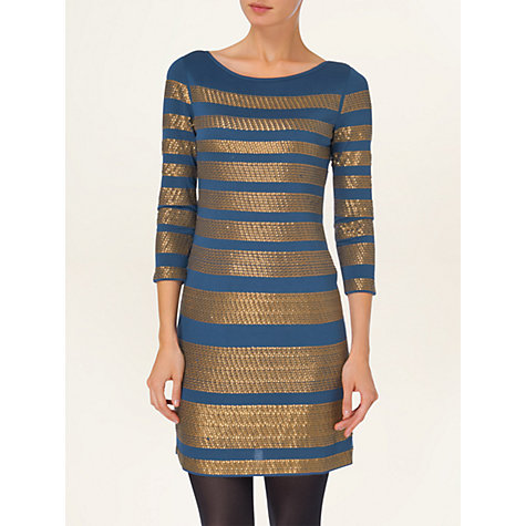 Buy Phase Eight Sequin Striped Tunic Dress, Navy/Bronze Online at johnlewis.com