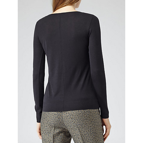 Buy Reiss Kimber Long-Sleeve Jersey Top, Navy Online at johnlewis.com