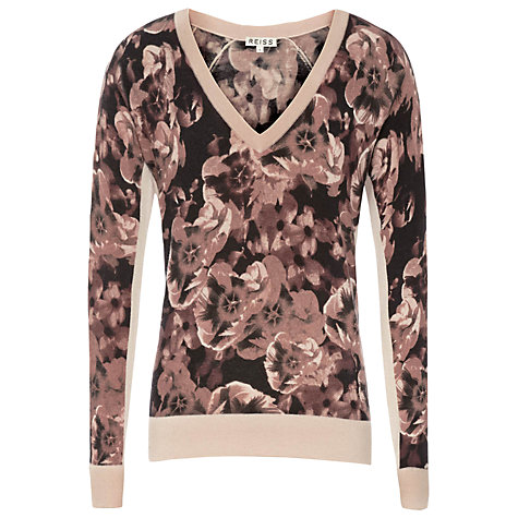 Buy Reiss Isabella Floral Print Jumper, Black Blush Online at johnlewis.com
