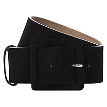 Buy Hobbs Effie Suede Belt, Black Online at johnlewis.com