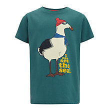 Buy John Lewis Boy Seagull Print T-Shirt, Green Online at johnlewis.com