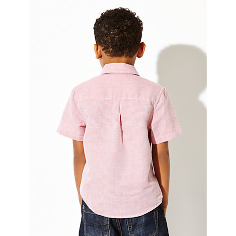 Buy John Lewis Boy Short Sleeve Stripe Shirt, Red Online at johnlewis.com