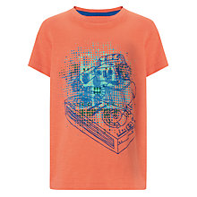 Buy John Lewis Boy Robot DJ Print T-Shirt, Coral Online at johnlewis.com