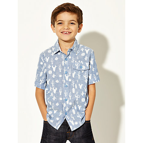 Buy John Lewis Boy Cactus Print Short Sleeve Shirt, Blue/White Online at johnlewis.com