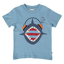 Buy Frugi Boys' Shark Applique T-Shirt, Blue Online at johnlewis.com