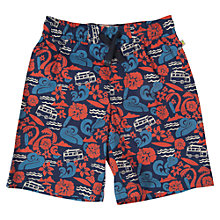 Buy Frugi Boys' Campervan Print Beach Swim Shorts, Blue/Red Online at johnlewis.com