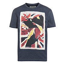 Buy Ben Sherman Boys' Distorted Union Jack T-Shirt, Navy Marl Online at johnlewis.com