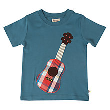 Buy Frugi Boys' Guitar Applique T-Shirt, Blue Online at johnlewis.com