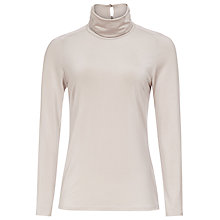 Buy Reiss Scarlett Dart Detail Roll Neck Top, Neutral Online at johnlewis.com