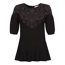 Buy Hobbs Invitation Damask Top, Black Online at johnlewis.com