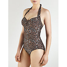 Buy John Lewis Leopard Control Ruched Halter Swimsuit, Animal Online at johnlewis.com