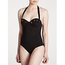 Buy John Lewis Eyelet Halter Control Swimsuit, Black Online at johnlewis.com