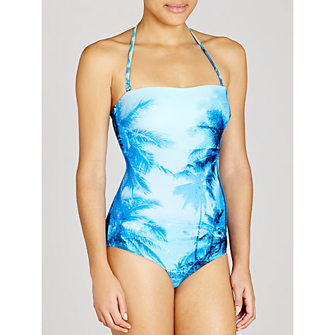 Buy John Lewis Palm Print Bandeau Swimsuit, Multi Online at johnlewis.com