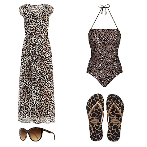 Buy John Lewis Leopard Control Bandeau Swimsuit, Animal Online at johnlewis.com