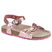 Buy John Lewis Girl Owena Glitter Sandals, Pink Online at johnlewis.com