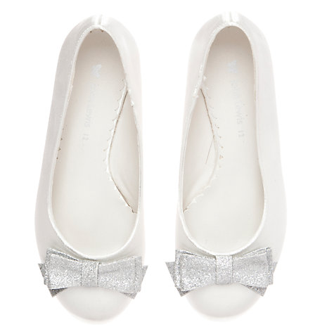 Buy John Lewis Girl Glitter Bow Wedges, Ivory Online at johnlewis.com