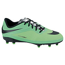 Buy Nike Junior Hypervenom Football Boots with Studs, Lime/Black Online at johnlewis.com