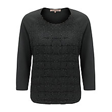 Buy Jigsaw Sparkle Check Scoop Top, Black Online at johnlewis.com