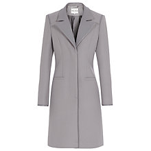 Buy Reiss Covent Leather Collar Coat, Grey Online at johnlewis.com