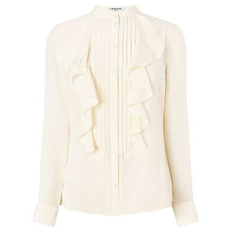Buy L.K. Bennett Bijou Frill Front Blouse, Cream Online at johnlewis.com