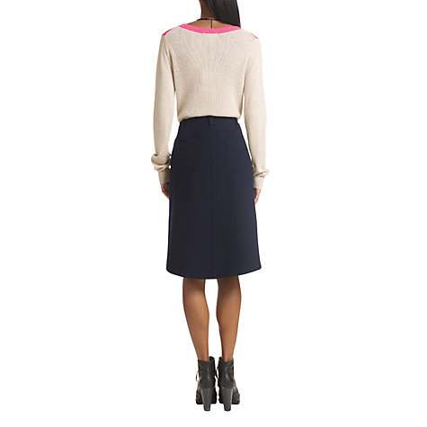 Buy Jigsaw Tumbled Wool & Satin Skirt, Navy Online at johnlewis.com