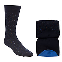 Buy John Lewis Dot and Contrast Toe Socks, Pack of 2, Navy Online at johnlewis.com