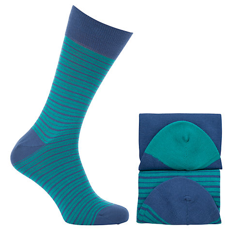 Buy John Lewis Varsity Stripe Egyptian Cotton Socks, Turquoise Online at johnlewis.com