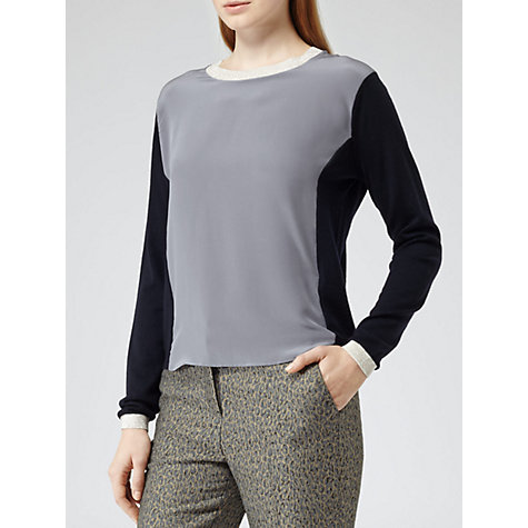 Buy Reiss Daisy Silk Front Knitted Top, Navy/Grey Online at johnlewis.com