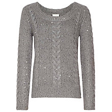 Buy Reiss Nik Sequin Knitted Jumper, Grey Online at johnlewis.com
