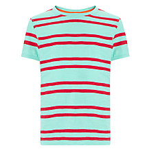 Buy John Lewis Boy Double Stripe T-Shirt, Green/Coral Online at johnlewis.com