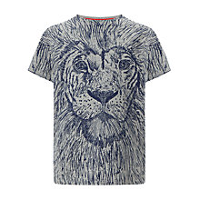 Buy John Lewis Boy Lion Print T-Shirt, Grey/Navy Online at johnlewis.com