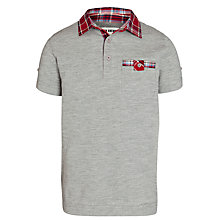 Buy Ben Sherman Boys' Check Collar Pique Polo, Grey Online at johnlewis.com