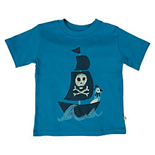 Buy Frugi Boys' Pirate Ship Print T-Shirt, Blue Online at johnlewis.com