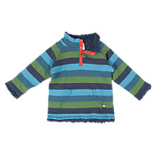 Buy Frugi Boys' Reversible Forest Stripe Fleece, Blue/Green Online at johnlewis.com