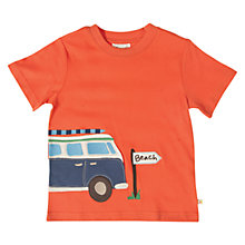Buy Frugi Boys' Campervan Applique T-Shirt, Orange Online at johnlewis.com