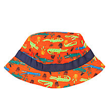 Buy John Lewis Boy Crocodile Print Bucket Hat, Orange/Navy Online at johnlewis.com