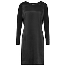 Buy Reiss Zaria Silk Front Dress, Black Online at johnlewis.com