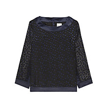 Buy Reiss Leah Sheer Spotty Top, Navy Online at johnlewis.com